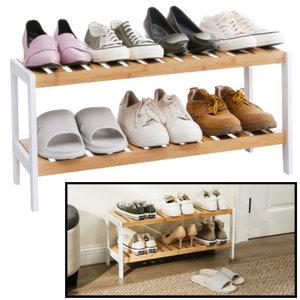 Decopatent Schoenenrek bamboe hout - Voor 6 paar schoenen - 70 cm breed - Rek met 2 etages - Opbergrek met moderne uitstraling - Ook als open badkamerrek / organizer voor badkamer - Decopatent®
