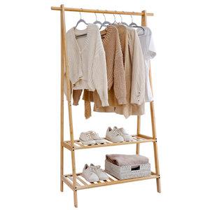 Decopatent Kledingrek van bamboe hout - Staand Houten kledingstandaard voor slaapkamer - Decopatent®