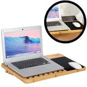 Decopatent Laptop standaard van Bamboe hout - Groot 60 cm - Houten laptopstandaard - Laptop verhoger / verhoging voor bureau - Laptoptafel Schoot - Schoottafel - Bedtafel - Knietafel - Decopatent®