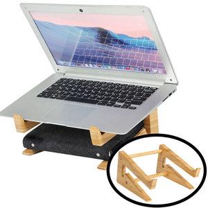 Decopatent Laptop standaard van Bamboe hout - Houten laptopstandaard - Laptop verhoger / verhoging voor bureau - Decopatent®