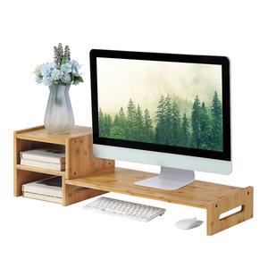 Decopatent Monitorstandaard van bamboe hout - Beeldscherm verhoger en bureau organizer - Monitorstandaard met vakje voor telefoon, beker en pennenbak - Monitorverhoger bureau standaard van Decopatent®