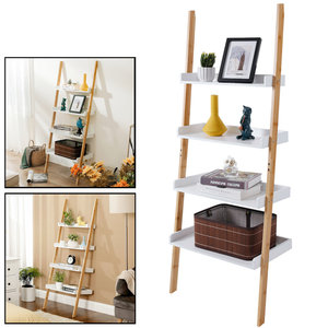 Decopatent Ladderrek van bamboe hout - Houten decoratie ladder - Open ladderkast / bamboe ladder / plantentrap / boekenkast / luxe opbergrek met 4 treden - Wit - Decopatent®