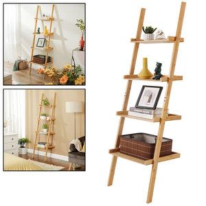 Decopatent Ladderrek van bamboe hout - Houten decoratie ladder - Open ladderkast / bamboe ladder / plantentrap / boekenkast / luxe opbergrek met 4 treden - Decopatent®