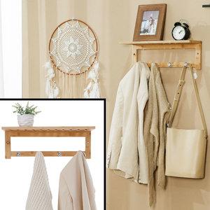 Decopatent Wandkapstok van bamboe hout met 4 haken - Houten wandrek - Hangende kapstok voor badkamer, hal, gaderobe - Decopatent®
