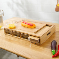 Decopatent Verhoogde 2-1 Bamboe Snijplank met 4 uitschuifbare opvang bakken /opvang Containers - Snijplank met 4 Opvangbakken voor Groente of fruit | Keuken snijplank Rechthoekig | Snij Plank met opvangbak - Decopatent®