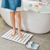 Decopatent Bamboe badmat voor douche of bad - Houten douchemat / badkamermat / saunamat - Kleur: WIT - Decopatent®