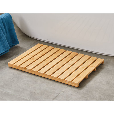 Decopatent Bamboe badmat voor douche of bad - Houten douchemat / badkamermat / saunamat - Kleur: Bamboe - Decopatent®