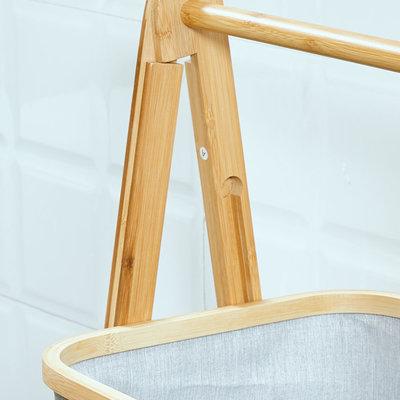 Decopatent Houten bamboe opbergrek met 3 manden - Elegant Staand badkamerrek / keukenrek met textiele / bamboe bakken van bamboe hout - Rek voor badkamer of keuken van Decopatent®