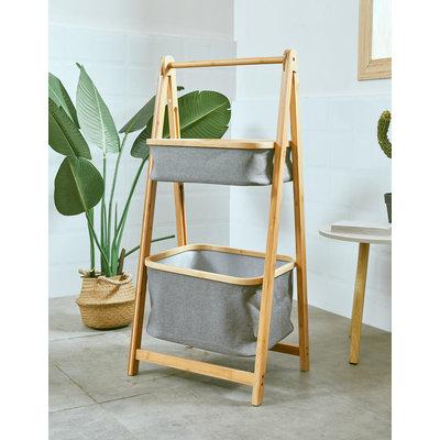 Decopatent Houten bamboe opbergrek met 2 manden - Elegant Staand badkamerrek / keukenrek met textiele / bamboe bakken van bamboe hout - Rek voor badkamer of keuken van Decopatent®