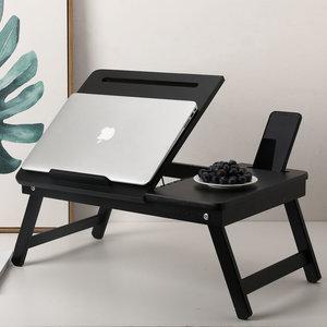 Decopatent Laptoptafel voor op Bank of bed van bamboe hout - Met Telefoon & Tablet houder - Hoogte verstelbaar, kantelbaar & Inklapbaar - Bedtafel / Banktafel voor laptop, boek, tablet - Ontbijt op bed tafel - Kleur: ZWART - Decopatent®