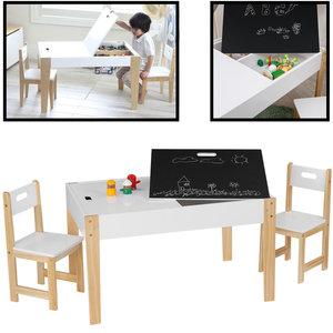Decopatent Kindertafel met stoeltjes van hout - 1 tafel en 2 stoelen voor kinderen - Met veel opbergruimte - Kleurtafel / speeltafel / knutseltafel / tekentafel / krijt tafel / zitgroep set - Decopatent®