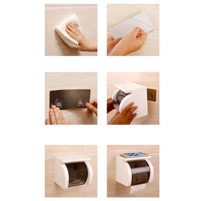 Decopatent Hangende Toiletrolhouder zonder boren – Toiletrolhouder met Telefoon plankje - Toiletpapier houder – Wc papier houder Hangend – Wc Rolhouder & Toilet papier rol houder om dingen op te leggen -Decopatent®