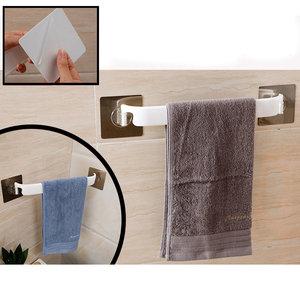 Decopatent Zelfklevende Handdoekstang voor Muur / Wand / Hoek Bevestiging - HandoekhouderWC / Toilet / Keuken / Badkamer - Wand Handdoekenrek Stang Houder - Ophangbaar handdoek rek - Handoekstang - Zonder Boren & Schroeven -Decopatent®