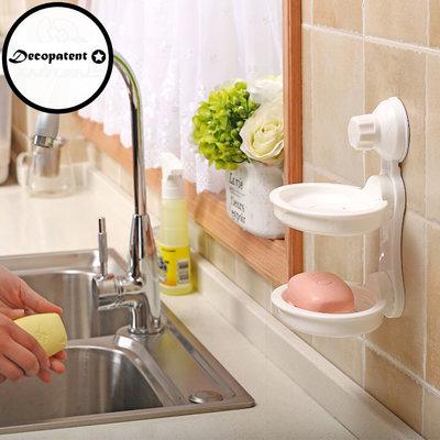 Decopatent Zelfklevende Hangende Dubbelezeephouder voor 2 stuks zeep - Voor Douche / Badkamer / Keuken / Toilet - Zeepbakje met zuignap - Zeepschaal hangend - Zeephouder Douche - Zeep houder Muur / Wand Montage zonder boren - Decopatent®