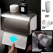 Decopatent Hangende dubbele Toiletrolhouder voor 2x Wc Rollen wc papier OF 1x Keuken Rol papier - Montage zonder boren – Toiletrolhouder met leg plankje - Toiletpapier houder – Wc papier houder – Wc Rolhouder / Toilet rol houder /Keukenrol houder -Decopatent®