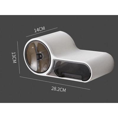 Decopatent Hangende Design Toiletrolhouder met Uitschuiflade & Leg plankje - Voor Wc Rollen wc papier - Montage zonder boren – Toiletrolhouder met Lade - Toiletpapier houder – Wc papier houder Hangend – Wc Rolhouder & Toilet papier rol houder -Decopatent®