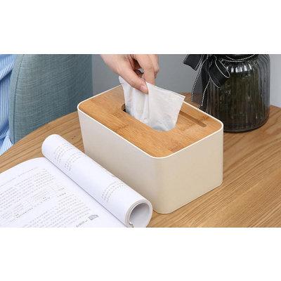 Decopatent Tissue box met Telefoon houder - Tissuehouder voor tissues - Tissuedoos Gsm sleuf - Tissuebox voor in Wc, Badkamer, Slaapkamer of Keuken - Zakdoekendoos - Zakdoekjes houder - Tafel model- Decopatent®