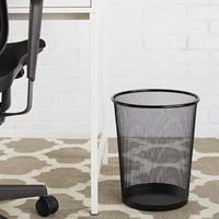 Decopatent Design ronde Prullenbak van metaal voor Kantoor of thuis - Mesh Prullenbak - papierbak - gaas mand - prullenmand rond - prullenbak voor onder bureau - Kleur: Zwart – Decopatent®