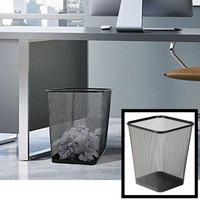 Decopatent Design Vierkante Prullenbak van metaal voor Kantoor of thuis - Mesh Prullenbak - papierbak vierkant - gaas mand - prullenmand vierkant - prullenbak voor onder bureau - Kleur: Zwart – Decopatent®