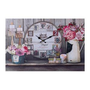 Decopatent XL Canvas Schilderij Wandklok PARIS & FLOWERS met Klok - Wand Klok Landelijk /Brocante - Canvasklok - Canvas Wandklokken met Klok - Keukenklok - Muurklok Wand Klok - Afm. 60 x 40 Cm -Decopatent®