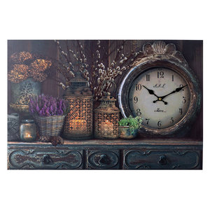 Decopatent XL Canvas Schilderij Wandklok CABINET CLOCK LANTARN CANDLE & FLOWERS met Klok - Wand Klok Landelijk /Brocante - Canvasklok - Canvas Wandklokken met Klok - Keukenklok - Muurklok Wand Klok - Afm. 60 x 40 Cm -Decopatent®