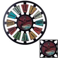 Decopatent XL Grote Ronde Gekleurde Wandklok Hout Klassiek PARIS 60 Cm - Wand Klok Vintage / Retro / Modern / Rond Brons - Kleuren / Zwart - Industriële Wandklokken met Paris / Parijs Design - Keukenklok - Muurklok Wand Klok - Afm. 60 x 60 Cm -Decopatent®