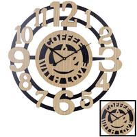 Decopatent XL Grote 60 Cm. Ronde Houten Wandklok Coffee with Love - Keuken Wand Klok met Tekst Modern / Retro / Vintage - Wandklok Koffie met Liefde - Wandklokken Rond - Keukenklok - Muurklok Wand Klok -Hout / Zwart - Afm. 60 x 60 Cm -Decopatent®