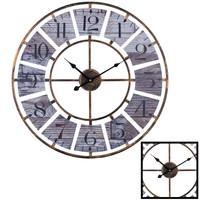 Decopatent XL Grote Ronde Wandklok Landelijk / Vintage 60 Cm met Cijfers - Wand Klok Modern / Landelijke Rond Brons - Klassieke Wandklokken zwarte wijzer - Keukenklok - Muurklok Wand Klok - Afm. 60 x 60 Cm -Decopatent®