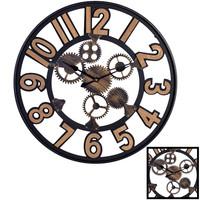 Decopatent XL Grote Ronde Wandklok Industrieel 60 Cm met Tandwielen en Cijfers - Wand Klok Modern / Landelijk Rond Brons / Zwart/ Hout - Industriële Wandklokken met Tand Wielen - Keukenklok - Muurklok Wand Klok - Afm. 60 x 60 Cm -Decopatent®