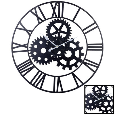 Decopatent XL Grote Ronde Wandklok Industrieel 60 Cm met Tandwielen - Wand Klok Modern / Landelijk Rond Zwart - Industriële Wandklokken met Tand Wielen - Keukenklok - Muurklok Wand Klok - Afm. 60 x 60 Cm -Decopatent®