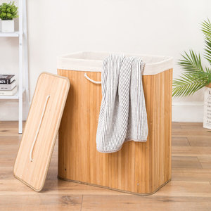 Decopatent Grote Bamboe Wasmand 2 vakken met Deksel & stoffen Waszak - Bamboe wasbox wassorteerder - Inhoud wasmand 110 liter - Wasmand voor wasgoed - Wasmanden Opvouwbaar - Dubbele Wasmand met deksel - Kleur: Naturel -Decopatent®