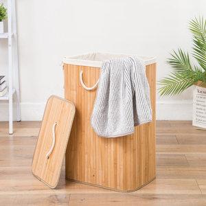 Decopatent Grote Bamboe Wasmand 1 vak met Deksel & stoffen Waszak - Bamboe wasbox wassorteerder - Inhoud wasmand 80 liter - Wasmand voor wasgoed - Wasmanden Opvouwbaar - Wasmand met deksel - Kleur: Naturel -Decopatent®