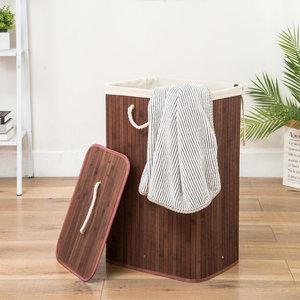 Decopatent Grote Bamboe Wasmand 1 vak met Deksel & stoffen Waszak - Bamboe wasbox wassorteerder - Inhoud wasmand 80 liter - Wasmand voor wasgoed - Wasmanden Opvouwbaar - Wasmand met deksel - Kleur: Bruin -Decopatent®