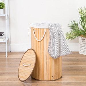 Decopatent Grote Ronde Bamboe Wasmand 1 vak met Deksel & stoffen Waszak - Bamboe wasbox wassorteerder Rond - Inhoud wasmand 80 liter - Wasmand voor wasgoed - Wasmanden Opvouwbaar - Wasmand met deksel - Kleur: Naturel -Decopatent®