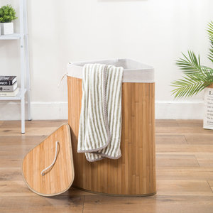 Decopatent Grote Bamboe Hoek Wasmand 1 vak met Deksel & stoffen Waszak - Bamboe wasbox wassorteerder Driehoek - Inhoud wasmand 100 liter - Wasmand voor wasgoed - Wasmanden Opvouwbaar - Wasmand met deksel - Kleur: Naturel -Decopatent®