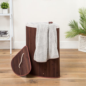 Decopatent Grote Bamboe Hoek Wasmand 1 vak met Deksel & stoffen Waszak - Bamboe wasbox wassorteerder Driehoek - Inhoud wasmand 100 liter - Wasmand voor wasgoed - Wasmanden Opvouwbaar - Wasmand met deksel - Kleur: Bruin -Decopatent®