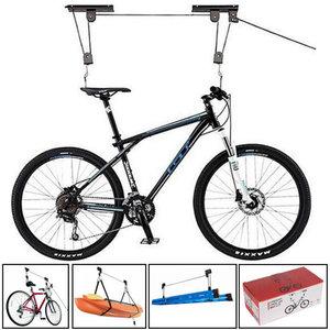 Decopatent Fietslift plafond- Dubbele Fietslift Ophangsysteem met Katrol - Met 2 Ophang Haken - fietsophangsysteem garage - Fiets liftophangsysteem - Plafond Fiets / Bike Lift - Fiets ophangen aan Plafond - Fietstakel Universeel-Decopatent®