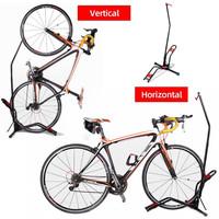Decopatent PRO Fietsenrek om je Fiets Verticaal of Horizontaal in te stallen - Fiets standaard display - Universeel Fietsenrek - Fietsenstalling - Fietsrek voor 1 Fiets -Voor Racefiets MTB Mountainbike Elektrische fietsen- Decopatent®
