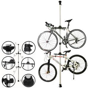 Decopatent Plafond Fiets ophangsysteem voor 2 Fietsen - Staand fietsenrek voor stalling van 2 fietsen - Fietsenhouder met Telescoopstang - Fietsrek - Fietssteun - Fietsstaander houder - Fiets stang standaard - Ophang systeem- Decopatent®