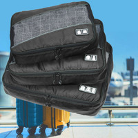 Decopatent Packing Cubes 3 Delige reis Set - Koffer organizer - Handbagage inpak Organizers voor Kleding - Ondergoed - Schoenen – Compression Cubes opberg tassen - kofferorganiser - Kleur ZWART - Decopatent®