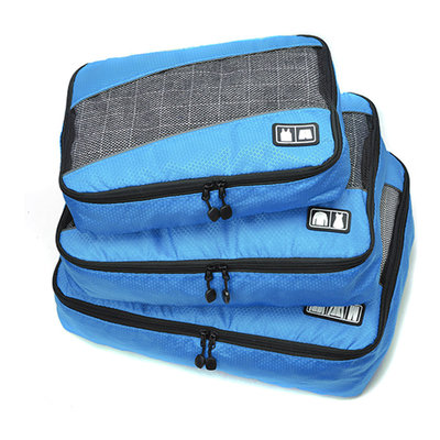 Decopatent Packing Cubes 3 Delige reis Set - Koffer organizer - Handbagage inpak Organizers voor Kleding - Ondergoed - Schoenen – Compression Cubes opberg tassen - kofferorganiser - Kleur BLAUW - Decopatent®