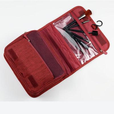 Decopatent Ophangbare Toilettas met Haak - Reis Toilet tas - Travel bag Organizer voor Vakantie /Kamperen & Reizen – Hangende Make up tas - Cosmetica Etui Tasje - Reistas Mannen en Vrouwen – Kleur BLAUW - Decopatent®