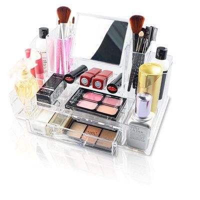 Decopatent XL Make up Organizer met 13 Vakken &  1 Lade & Makeup Spiegel – Make-up Spiegel Organizer Transparant - Sieraden Makeup Cosmetica Opbergsysteem - Display Houder voorLippenstift / Nagellak / Brushes / Visagie - Make up kwasten / Sieraden etc. - Decopatent
