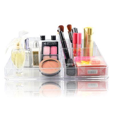 Decopatent XXL Make up Organizer met 9 Vakken – Make-up Organizer Transparant - Sieraden Makeup Cosmetica Opbergsysteem - Display Houder voorLippenstift / Nagellak / Brushes / Visagie - Make up kwasten / Sieraden etc. - Decopatent®