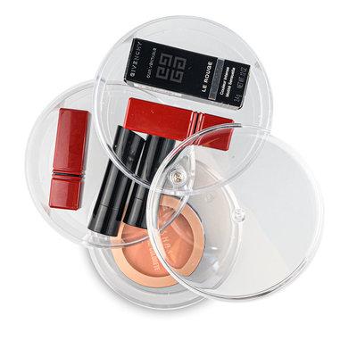 Decopatent RONDE Make up Organizer met 3 Vakken – Make-up Organizer Transparant - Sieraden Makeup Cosmetica Opbergsysteem - Display Houder voorLippenstift / Nagellak / Visagie - Make up / Sieraden etc. - Decopatent®