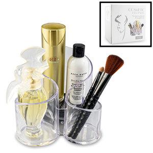 Decopatent RONDE Make up Organizer met 3 Vakken – Make-up Organizer Transparant - Makeup Cosmetica Opbergsysteem - Display Houder voorLippenstift / Nagellak / Brushes / Visagie - Make up kwasten etc. - Decopatent®