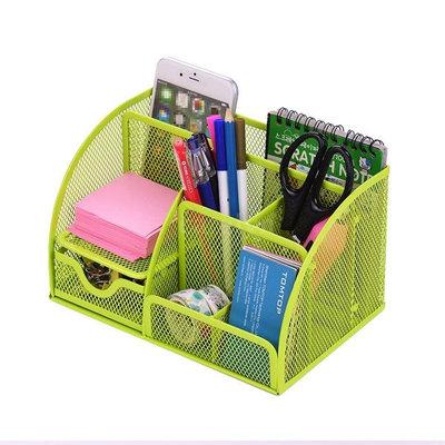 Decopatent Pennenbak met 6 vakken en 1 schuiflade voor pennen, potloden, notitieblok / post it en paperclips etc -Mesh bureau organizer - pennenbakje van metaal / gaas - pennenhouder - bureau organizer Kleur: Groen– Decopatent®