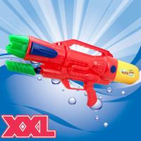 Decopatent XL Waterpistool - Super soaker waterpistool voor jongens - Jumbo waterkanon - Dubbel Shots supersoaker water pistool voor kinderen - Waterspeelgoed Watergeweer - Water gun met groot water reservoir - Afm 63.5x10x26 Cm - 1.8 Liter - ROOD - Decopatent®