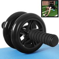 Decopatent AB Roller Zwart - Trainingswiel voor buikspieren – Buikspiertrainer / buikspierwiel / buikspier roller / Ab Wheel - Luxe uitvoering met Mat, foam handvatten en stabiel buikspier wiel om buikspieren te trainen - Decopatent®