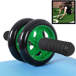 Decopatent AB Roller Groen - Trainingswiel voor buikspieren – Buikspiertrainer / buikspierwiel / buikspier roller / Ab Wheel - Luxe uitvoering met Mat, foam handvatten en stabiel buikspier wiel om buikspieren te trainen - Decopatent®